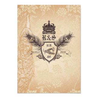 Vintage Pfau-Hochzeits-Einladung 1,0 12,7 X 17,8 Cm Einladungskarte