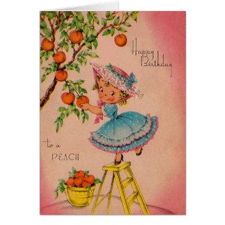 Vintage Pfirsich-Mädchen-Geburtstags-Karte Grußkarte