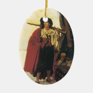 Vintage Piraten Buccaneer waren ein malerischer Ovales Keramik Ornament