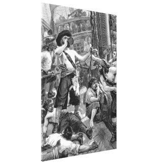 Vintage Piraten, die auf dem Schiff kämpfen und Leinwanddruck