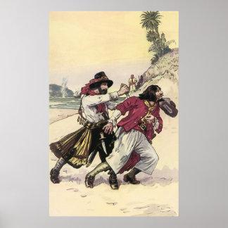 Vintage Piraten, Duell bebauen den Tod auf dem Poster