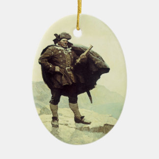 Vintage Piraten, Kapitän Bill Bones durch NC Wyeth Ovales Keramik Ornament