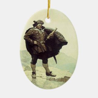 Vintage Piraten, Kapitän Bill Bones durch NC Wyeth Ovales Keramik Ornament