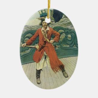 Vintage Piraten, Kapitän Keitt durch Howard Pyle Ovales Keramik Ornament