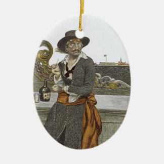 Vintage Piraten, Kidd auf Plattform der Ovales Keramik Ornament