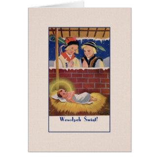 Vintage polnische Wesołyeh Świąt Weihnachtskarte Karte