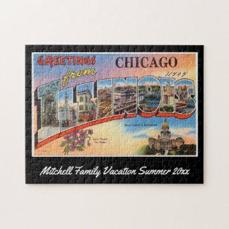 Vintage Postkarten-Familien-Andenken Chicagos Puzzle