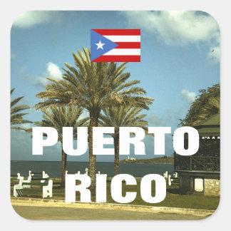 Vintage Puerto- Ricophotographie Quadratischer Aufkleber