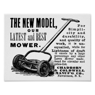 Vintage Rasenmäheranzeige Poster