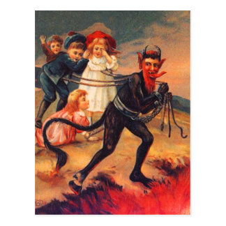 Vintage Redheaded Krampus Postkarte