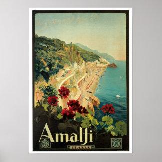 Vintage Reise, Amalfi Italien Poster