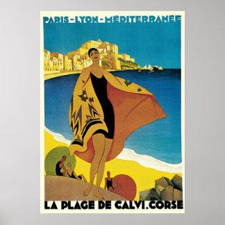 Vintage Reise-Anzeigen: La-Strandde Calvi, Korsika Poster