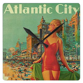 Vintage Reise, Atlantic City Quadratische Wanduhr