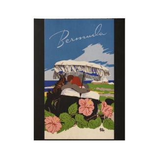 Vintage Reise-Bermuda-Vierzigerjahre Holzposter