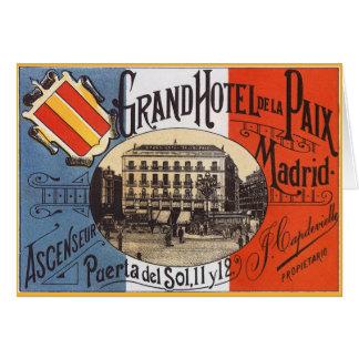 Vintage Reise, großartiges Hotel Paix, Madrid, Karte