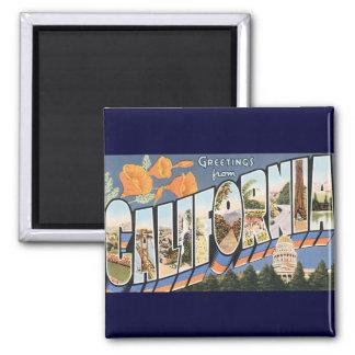 Vintage Reise, Grüße von Kalifornien-Mohnblumen Quadratischer Magnet