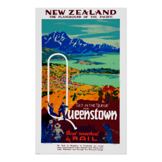 Vintage Reise Queenstowns Neuseeland Poster
