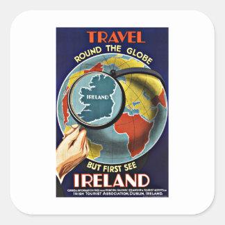 Vintage Reise ringsum die Kugel sehen Irland Quadrat-Aufkleber