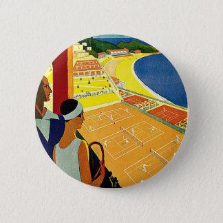 Vintage Reise, Tennis, Sport, Monte Carlo Monaco Runder Button 5,1 Cm