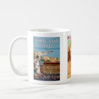Vintage Reise, weiße Stern-Linie Tasse