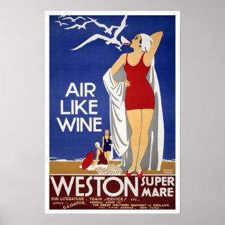 Vintage Reise, Weston-Super-Stute Poster