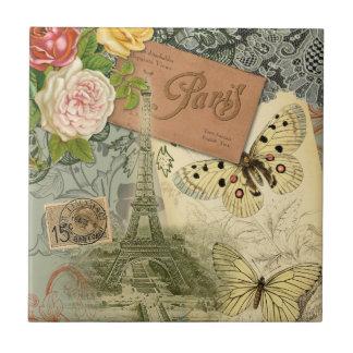 Vintage Reisecollage Eiffel-Turm-Paris Frankreich Kleine Quadratische Fliese