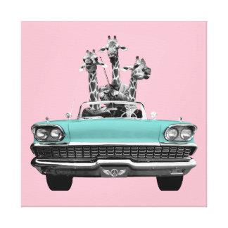 Vintage Retro Gesang-Giraffen-Auto-Straßen-Reise Leinwanddruck