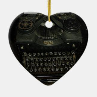 Vintage retro Schreibensmaschine, Schreibmaschine Keramik Herz-Ornament