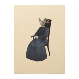 Vintage Retro Sphynx Katze gesetzt Holzwanddeko