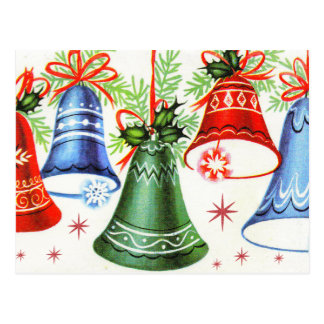 Vintage retro Weihnachtsglocken Feiertagspostkarte Postkarte