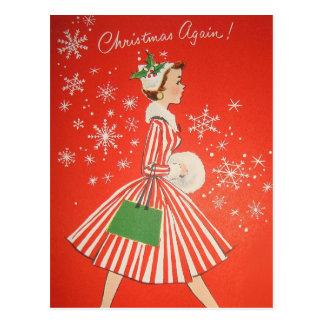 Vintage Retro Weihnachtspostkarte Postkarte