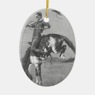 Vintage Rodeo-Cowboys, sträubender Bronco durch Ovales Keramik Ornament
