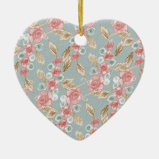 Vintage, romantische rosa Rosen-Blumen Keramik Herz-Ornament