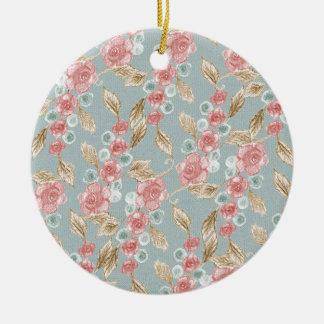 Vintage, romantische Rosen-Blumen Rundes Keramik Ornament