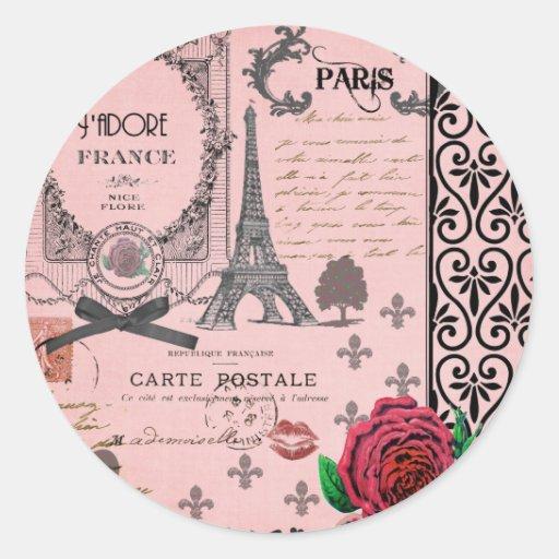 Vintage rosa Paris-Collage Runder Sticker