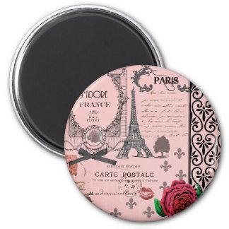 Vintage rosa Paris-Collage Runder Magnet 5,7 Cm