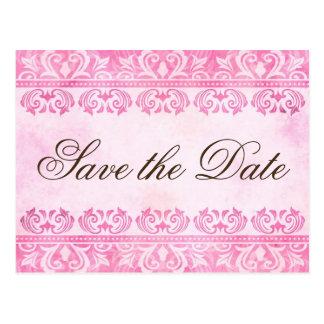 Vintage rosa Postkarte des Damastes Save the Date