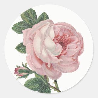 Vintage rosa Rosen-Blumen-Shabby Chic-Hochzeit Runder Aufkleber