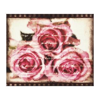 Vintage rosa Rosen Galerie Gefaltete Leinwand