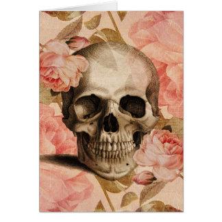 Vintage Rosa-Schädel-Collage Grußkarte