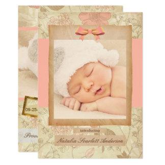 Vintage Rose - Geburts-Mitteilung 12,7 X 17,8 Cm Einladungskarte