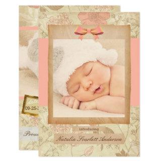 Vintage Rose - Mitteilung der Geburts-3x5 Karte