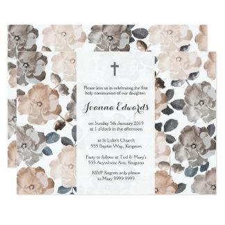 Vintage Rosen-erste Kommunions-Taufe 12,7 X 17,8 Cm Einladungskarte
