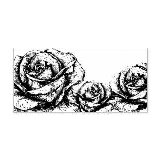 Vintage Rosen mit Blumen Gummistempel