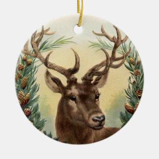 Vintage Rotwild-Weihnachtsverzierung Keramik Ornament