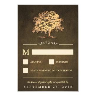 Vintage rustikale Goldeichen-Baum-Hochzeit UAWG 8,9 X 12,7 Cm Einladungskarte
