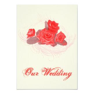 Vintage rustikale Rosen-Hochzeits-Einladungen 12,7 X 17,8 Cm Einladungskarte