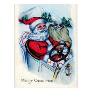 Vintage Sankt im Auto Postkarte