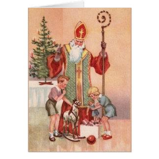 Vintage Sankt- Nikolausgruß-Karte Karte