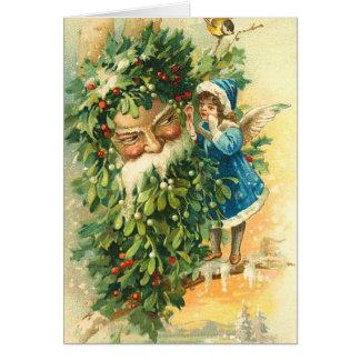 Vintage Sankt- und Fee-Weihnachtskarte Karte